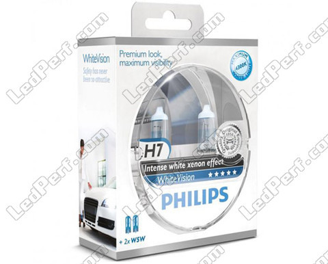 Set met 2 H7 lampen Philips WhiteVision + 2 W5W WhiteVision