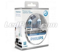 Set met 2 H4 lampen Philips WhiteVision + 2 W5W WhiteVision (Nieuw!)